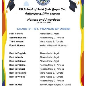 Graduation Honors, Awards And Recognition For SY 2019-2020